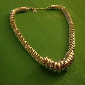 Silver Rope necklace with silver hoops